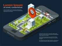 Διανυσματική τρισδιάστατη εικόνα έννοιας πόλεων Διαφορετικά επιχειρησιακά κτήρια, δρόμοι, κήπος και άλλα αστικά στοιχεία διανυσματική απεικόνιση