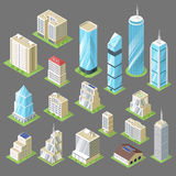 Διανυσματική τρισδιάστατη isometric απεικόνιση των κτηρίων, ουρανοξύστες απεικόνιση αποθεμάτων