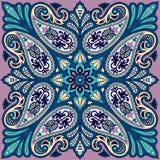 Διανυσματική τυπωμένη ύλη bandana με τη διακόσμηση του Paisley Βαμβάκι ή μετάξι headscarf, τετραγωνικό σχέδιο σχεδίων μαντίλι για Στοκ φωτογραφία με δικαίωμα ελεύθερης χρήσης