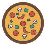 Διανυσματική φέτα της πίτσας - γρήγορο ιταλικό εικονίδιο τροφίμων - επιλογές εστιατορίων Στοκ Εικόνες