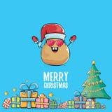Διανυσματική φοβιτσιάρης κωμική πατάτα χαμόγελου Άγιος Βασίλης κινούμενων σχεδίων χαριτωμένη καφετιά με το κόκκινο καπέλο santa,  διανυσματική απεικόνιση
