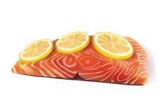 Διανυσματική φρέσκια λωρίδα ψαριών σολομών που μαγειρεύεται με τις φέτες λεμονιών στην κορυφή Στοκ Φωτογραφίες