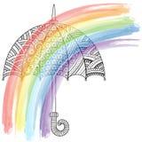 Διανυσματική φωτεινή ομπρέλα doodle φθινόπωρο ι αγάπη Ύφος ομπρελών μόδας Ουράνιο τόξο και βροχή Στοκ φωτογραφία με δικαίωμα ελεύθερης χρήσης
