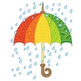 Διανυσματική φωτεινή ομπρέλα doodle φθινόπωρο ι αγάπη Ύφος ομπρελών μόδας Ουράνιο τόξο και βροχή Στοκ Φωτογραφίες