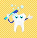 Διανυσματική χαμογελώντας και πλένοντας απεικόνιση δοντιών στο φωτεινό υπόβαθρο ελεύθερη απεικόνιση δικαιώματος