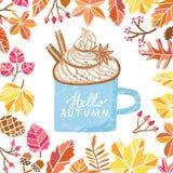 Διανυσματική χαριτωμένη απεικόνιση φθινοπώρου με την κούπα, ποτό φλυτζανιών Στοκ εικόνα με δικαίωμα ελεύθερης χρήσης