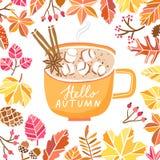 Διανυσματική χαριτωμένη απεικόνιση φθινοπώρου με την κούπα, ποτό φλυτζανιών Στοκ Εικόνες