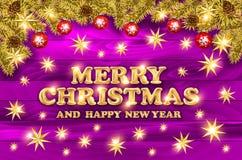 Διανυσματική Χαρούμενα Χριστούγεννα και ευχετήρια κάρτα καλής χρονιάς με τις χρυσές hand-drawn χιονοπτώσεις Στοκ φωτογραφία με δικαίωμα ελεύθερης χρήσης