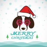 Διανυσματική Χαρούμενα Χριστούγεννα που χαιρετά την κάρτα σκυλιών διανυσματική απεικόνιση