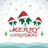 Διανυσματική Χαρούμενα Χριστούγεννα που χαιρετά την κάρτα σκυλιών απεικόνιση αποθεμάτων
