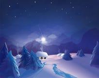 Διανυσματική χειμερινή σκηνή νύχτας Στοκ Φωτογραφία