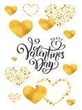Διανυσματική χρυσή φύλλων αλουμινίου χειρόγραφη ημέρα βαλεντίνων εγγραφής ευτυχής Συρμένο καλλιγραφία χρυσό σχέδιο καρδιών ημέρας στοκ εικόνες