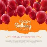 Διανυσματική χρόνια πολλά κάρτα με τα κόκκινα μπαλόνια, πρόσκληση κομμάτων απεικόνιση αποθεμάτων