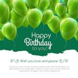 Διανυσματική χρόνια πολλά κάρτα με τα πράσινα μπαλόνια, πρόσκληση κομμάτων απεικόνιση αποθεμάτων