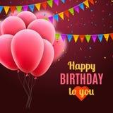 Διανυσματική χρόνια πολλά κάρτα με τα ρόδινα μπαλόνια και το κομφετί, πρόσκληση κομμάτων διανυσματική απεικόνιση