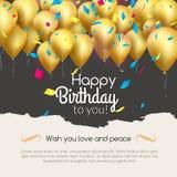 Διανυσματική χρόνια πολλά κάρτα με τα χρυσά μπαλόνια και το κομφετί, πρόσκληση κομμάτων ελεύθερη απεικόνιση δικαιώματος