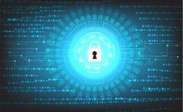 Διανυσματική ψηφιακή τεχνολογία στο μπλε υπόβαθρο, έννοια προστασίας, μηχανισμός ασφάλειας Στοκ Φωτογραφία