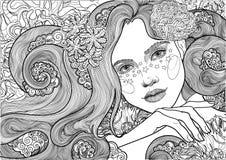 Διανυσματική όμορφη θεά θάλασσας, γοργόνα, κορίτσι μεταξύ των ανθίζοντας αλγών, χρωματισμός απεικόνιση αποθεμάτων