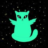 Διανυσματική όμορφη διαστημική αλλοδαπή γάτα Ελεύθερη απεικόνιση δικαιώματος