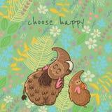 Διανυσματική floral κάρτα κινούμενων σχεδίων με το μαμούθ Στοκ εικόνα με δικαίωμα ελεύθερης χρήσης