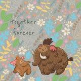 Διανυσματική floral κάρτα κινούμενων σχεδίων με το μαμούθ Στοκ Εικόνα