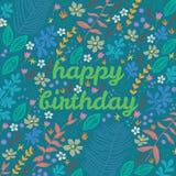 Διανυσματική floral κάρτα κινούμενων σχεδίων Στοκ εικόνα με δικαίωμα ελεύθερης χρήσης