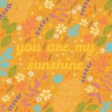 Διανυσματική floral κάρτα κινούμενων σχεδίων Στοκ εικόνες με δικαίωμα ελεύθερης χρήσης