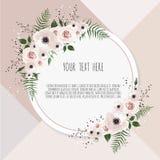 Διανυσματική floral κάρτα σχεδίου Ο χαιρετισμός, γάμος καρτών προσκαλεί το πρότυπο Κομψό πλαίσιο με ροδαλό και το anemone ελεύθερη απεικόνιση δικαιώματος