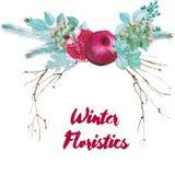 Διανυσματική Floristic σύνθεση Watercolor Στοκ Εικόνες