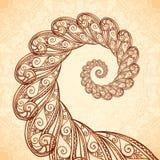 Διανυσματική fractal σπείρα henna στο ύφος δερματοστιξιών Στοκ Φωτογραφία