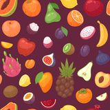 Διανυσματική fruity μπανάνα μήλων φρούτων και εξωτικό papaya με τις φρέσκες φέτες του τροπικού dragonfruit ή του juicy πορτοκαλιο Στοκ φωτογραφία με δικαίωμα ελεύθερης χρήσης