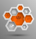 Διανυσματική hexagon ομάδα με τα εικονίδια για τις επιχειρησιακές έννοιες διανυσματική απεικόνιση