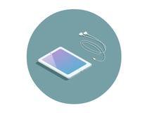 Διανυσματική isometric άσπρη ταμπλέτα με τα ακουστικά, τρισδιάστατη επίπεδη συσκευή σχεδίου Στοκ Εικόνες