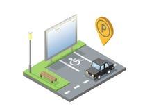 Διανυσματική isometric απεικόνιση της θέσης στάθμευσης αυτοκινήτων με τον πίνακα διαφημίσεων Στοκ φωτογραφία με δικαίωμα ελεύθερης χρήσης