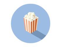 Διανυσματική isometric απεικόνιση του κιβωτίου με popcorn, τρόφιμα κινηματογράφων Στοκ Εικόνες