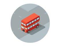 Διανυσματική isometric απεικόνιση του κόκκινου διόροφου λεωφορείου Στοκ Φωτογραφίες