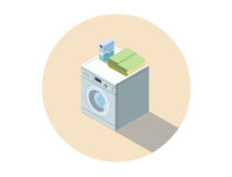 Διανυσματική isometric απεικόνιση του πλυντηρίου, πλένοντας εξοπλισμός ενδυμάτων Στοκ Εικόνες