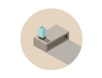 Διανυσματική isometric απεικόνιση του σύγχρονου τραπεζάκι σαλονιού με το λαμπτήρα Στοκ φωτογραφία με δικαίωμα ελεύθερης χρήσης