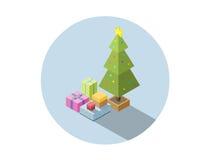 Διανυσματική isometric απεικόνιση του χριστουγεννιάτικου δέντρου με τα δώρα Στοκ Εικόνες