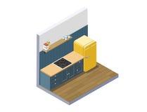 Διανυσματική isometric απεικόνιση των επίπλων κουζινών, εγχώριος εξοπλισμός Στοκ Εικόνες