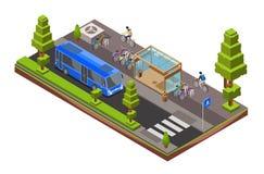 Διανυσματική isometric διατομή στάσεων λεωφορείου απεικόνιση αποθεμάτων