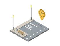 Διανυσματική isometric θέση στάθμευσης αυτοκινήτων με τον πάγκο, καρφίτσα στάθμευσης geotag Στοκ Εικόνες