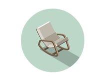 Διανυσματική isometric σύγχρονη λικνίζοντας καρέκλα, τρισδιάστατο επίπεδο εσωτερικό στοιχείο σχεδίου Στοκ φωτογραφία με δικαίωμα ελεύθερης χρήσης