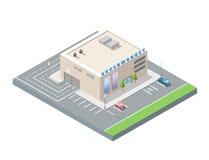 Διανυσματική isometric υπεραγορά με το χώρο στάθμευσης αυτοκινήτων Στοκ φωτογραφίες με δικαίωμα ελεύθερης χρήσης