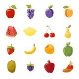 Διανυσματική juicy συλλογή φρούτων πέρα από το λευκό ελεύθερη απεικόνιση δικαιώματος