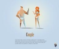 Διανυσματική polygonal απεικόνιση του ζεύγους, των γυμνών ανθρώπων, του σύγχρονου χαμηλού πολυ αντικειμένου, του άνδρα και της γυ Στοκ Εικόνα