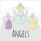 Διανυσματικοί άγγελοι σε ένα άσπρο υπόβαθρο Hand-drawn στο ύφος του doodle αντικείμενα απεικόνιση αποθεμάτων