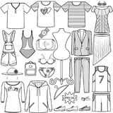 Διανυσματικοί άνδρες και γυναίκες μόδας εικονιδίων καθορισμένοι που ντύνουν την κατηγορία προϊόντων καπέλων ΚΑΠ πουκάμισων παπουτ ελεύθερη απεικόνιση δικαιώματος
