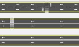 Διανυσματικοί άνευ ραφής τύποι δρόμων ασφάλτου και εθνικών οδών από τη τοπ άποψη Στοκ εικόνα με δικαίωμα ελεύθερης χρήσης