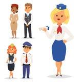 Διανυσματικοί άνθρωποι αεροσυνοδών αεροσυνοδών προσωπικού προσωπικού αεροπλάνων χαρακτήρα αερογραμμών απεικόνισης πιλότων και αερ Στοκ Φωτογραφίες